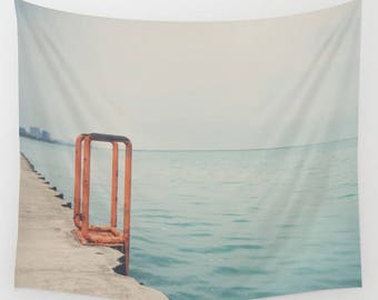 downtown Chicago photograph, Lake Michigan tapestry, boho wall art, large home decor