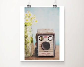 vintage camera photograph, Kodak print, botanical decor, daisy photograph, vertical camera art, large wall art