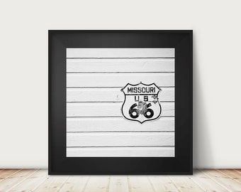 black and white route 66 photograph, Missouri print, vintage sign print, travel photography, Americana print, Midwest decor