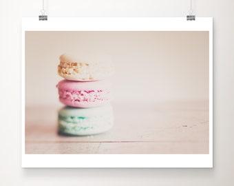 French macaron print, food photography, Paris decor, large wall art, pastel pink decor, bakery decor, kitchen wall art