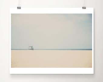 Santa Monica beach photograph, California Pacific Ocean print, lifeguard tower wall art, minimalist decor