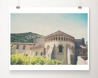Gellone Monastery photograph, St Guilhem le Desert print, French architecture print, travel photography, religious art