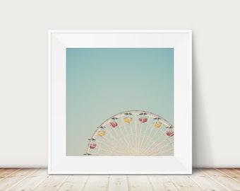 ferris wheel print, Carnival photograph, nursery decor, California art, large square art, mint decor