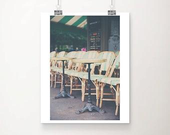 Paris cafe photograph, mint decor, travel photography, France photograph, vertical Paris print, Paris photograph