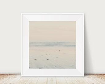 peaceful beach photograph, square ocean print, wanderlust art, minimalist decor, Norfolk coastline print, England photograph