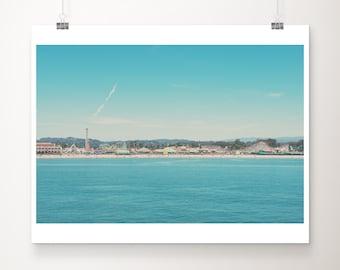 Santa Cruz boardwalk photograph, California print, Pacific ocean print, beach photography, west coast decor, carnival print, blue decor