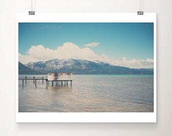 Lake Tahoe photograph, California print, mountains print, pier photograph, blue decor, large wall art, wilderness art