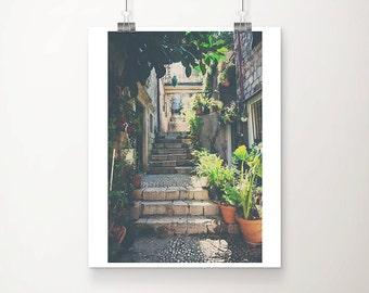 Dubrovnik old town photograph, European decor, Dubrovnik print, wanderlust art, travel photography, Croatia photograph, stairs print