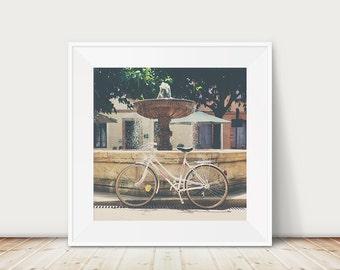 white bicycle photograph, France print, Albi photograph, French decor, large wall art, white bike print, wanderlust art