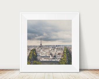 Paris Eiffel Tower print, Paris decor, Nursery wall art, Paris rooftops print