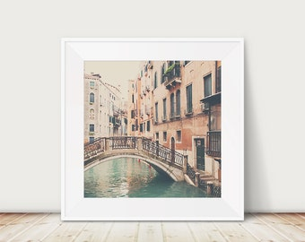 Venice canal photograph, bridge photograph, Italian decor, travel photography, peach decor, Italy photograph, Venice photograph