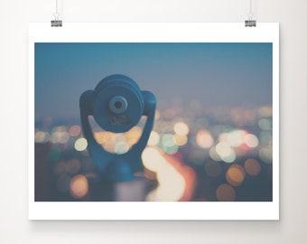 Los Angeles print, California decor, Mulholland Drive print, night photograph, tourist viewfinder print, LA night print, urban decor