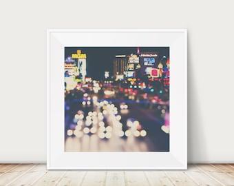 Las Vegas photograph, Las Vegas strip print, Las Vegas at night photograph, travel photography, neon sign photograph, Americana decor