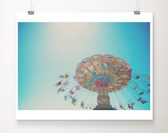 carnival photograph, carnival swing print, Santa Cruz photograph, California photograph, fairground decor, nursery wall art
