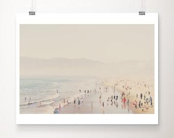 Santa Monica print, aerial beach photograph, Pacific Ocean print, large wall art, California photograph, West Coast decor, pastel decor