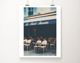 Paris photograph, Paris cafe print, vertical Paris decor, Paris print, French decor, travel photograph, Paris architecture print, blue decor