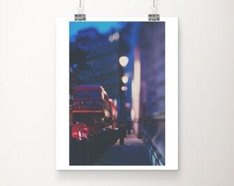 London photograph, red London bus print, vertical London decor, London at night photograph, travel photography, English decor