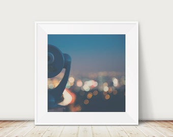 Abstract Los Angeles photograph, California wall art, night photograph, Mulholland Drive print, square large art
