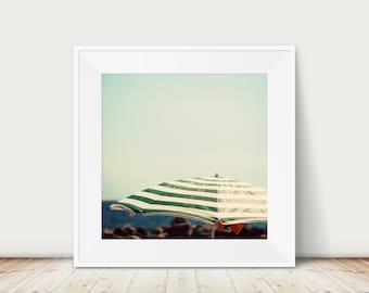 mint green decor, beach umbrella photograph, beach house decor, large wall art, beach photography, minimalist decor