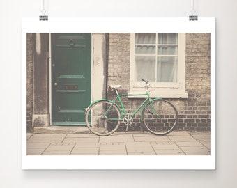 SALE green bicycle photograph, Cambridge print, green door print, travel photography, wanderlust art, discounted 8x10 print