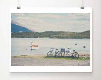 Scotland bicycle photograph, Scottish Loch print, boat photograph, European travel art