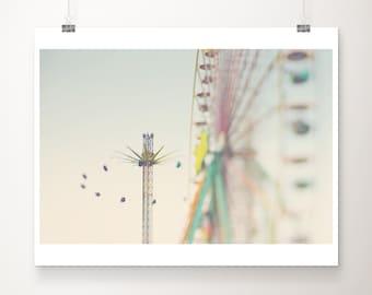 ferris wheel print, carnival photograph, nursery wall art, carnival swings print, carnival decor, mint green decor, large wall art