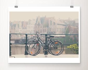 bicycle photograph, Ghent print, Belgium travel photography European city, bicycle print, large wall art, dorm room decor
