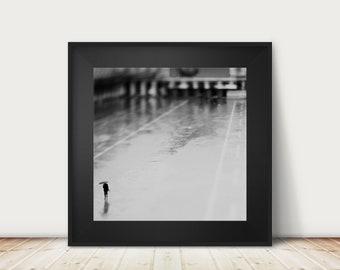 black and white Venice photograph, square Venice print, Venice decor, St Marks Square photograph, Venice in the rain print