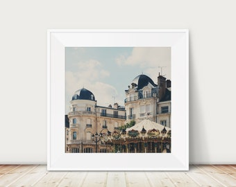Orleans print, France photograph, French architecture print, carousel photograph, rooftops print, square carousel print, travel photography