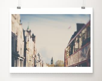 London print, Big Ben photograph, London decor, travel photography, Whitehall print, London architecture print, red London bus print
