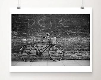 black and white bicycle photograph, bike print, Cambridge photograph, wanderlust art, travel photography, urban print