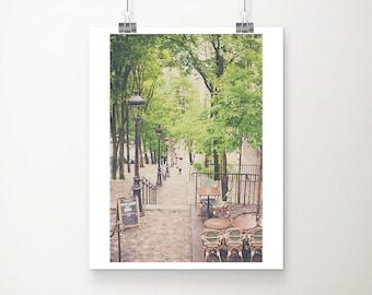 Paris cafe photograph, Montmartre steps print, springtime in Paris art, travel photography, large wall art