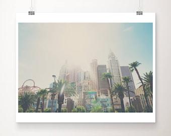 Las Vegas photograph, Las Vegas hotel print, New York hotel wall art, Las Vegas architecture