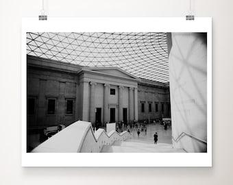 black and white London photograph, British Museum print, London architecture print, urban decor, travel photography