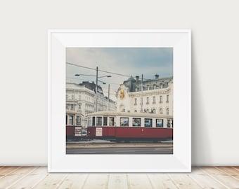 Vienna tram photograph, red tram print, Austria photograph, European city print, Vienna architecture print, travel photography