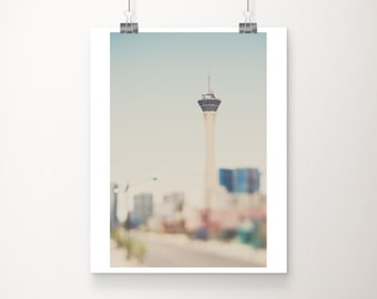 Las Vegas photograph, Stratosphere print, Las Vegas strip photograph, vertical Las Vegas architecture print, Americana decor