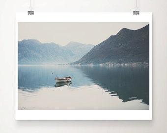 boat photograph, Bay of Kotor photograph, mountains print, wilderness print, adventure art, Montenegro photograph
