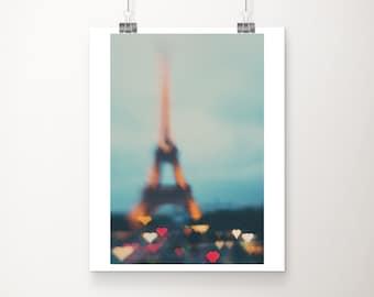 Paris photograph, Eiffel Tower print, Paris heart print, love Paris decor, travel photography, wanderlust art, vertical Paris print