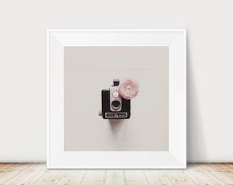vintage camera photograph, Kodak Brownie print, pink ranunculus photograph, dorm room decor, large wall art, studio decor