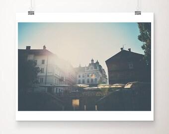 sunset in Ljubljana photograph, Slovenia print, travel photography, Europe architecture print, wanderlust art