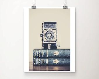 SALE vintage camera photograph, book print, Mark Twain print, discounted art, 8x10 sale print, dads gift, Kodak print
