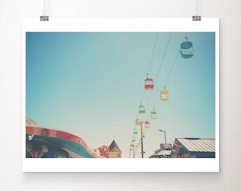 Santa Cruz boardwalk photograph, California print, beach photography, west coast decor, carnival print