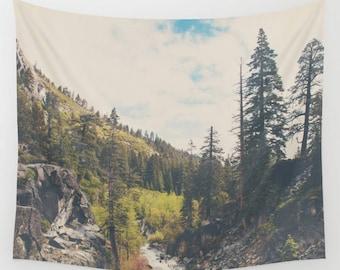 Lake Tahoe tapestry, wilderness art, Lake Tahoe photograph, adventure print, boho decor