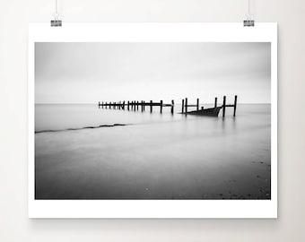 black and white ocean photograph, beach sea defenses print, minimalist decor, English coastal wall art