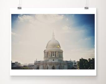 London photograph, St Pauls cathedral print, London decor, London architecture print, church photograph, London rooftops print
