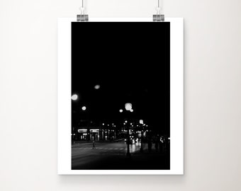 black and white downtown Chicago photograph, urban decor, street photography, vertical Chicago print, Chicago at night print