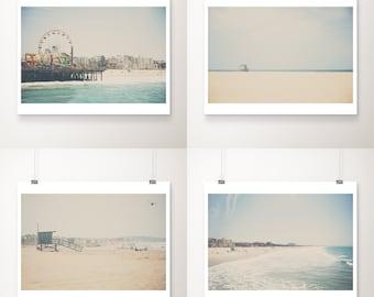 Santa Monica print set, Pacific Ocean photograph, Santa Monica pier photograph, aerial beach photography, discounted art