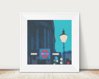 London underground photograph, London wall art, square London print, London at night, London travel photograph, large wall art