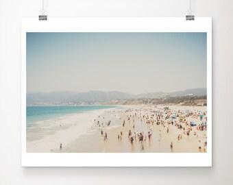 Santa Monica print, aerial beach photograph, Pacific Ocean print, large wall art, California photograph, West Coast decor, blue decor