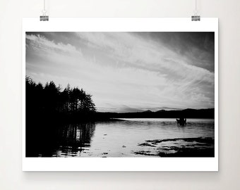 SALE black and white photography, boat photograph, Scottish loch photograph,  water reflections print, nature photography, discounted art